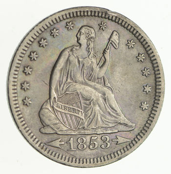 1853 Seated Liberty Silver Quarter - Arrows & Rays - Near Uncirculated