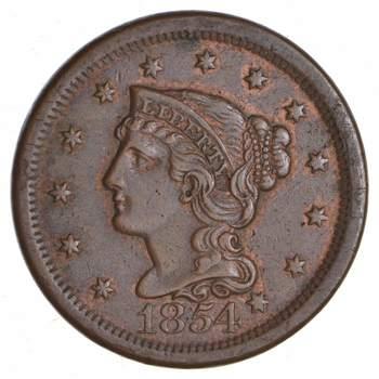 1854 Braided Hair Large Cent