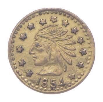 1854 Indian Head California Gold Rush Souvenir Token