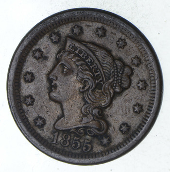 1855 Braided Hair Large Cent - Circulated