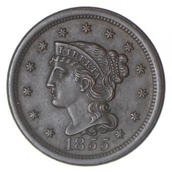 1855 Braided Hair Large Cent - Slant 5 - Near Uncirculated