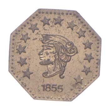 1855 Octagonal California Gold Rush Souvenir Token