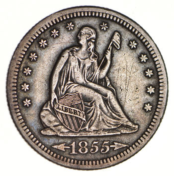 1855-S Seated Liberty Silver Quarter - Variety 3 - Circulated