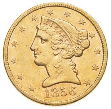 1856 $5.00 Liberty Head Gold Half Eagle