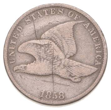 1858 Flying Eagle Cent - Very Tough - Issued for only 3 Years