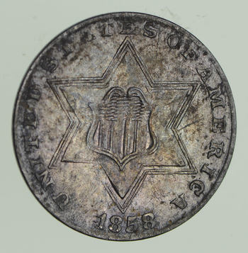 1858 Silver Three-Cent Piece - Circulated