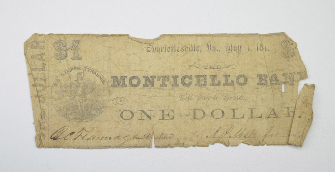 1861 $1 Monticello Bank Charlottesville VA Obsolete Note - Civil War Era