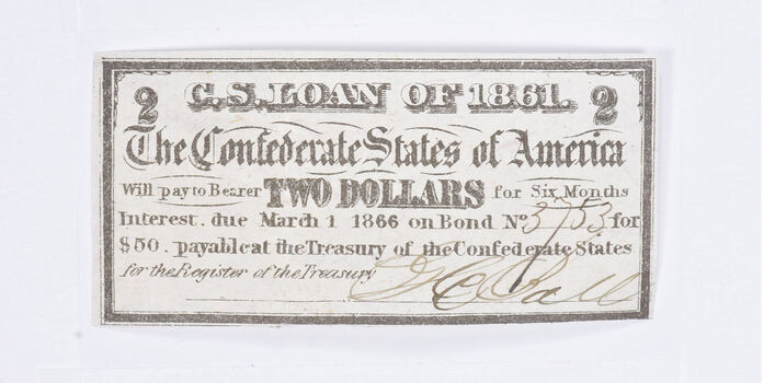 1861 $2 Confederate States of America - Authentic Civil War Bond Note