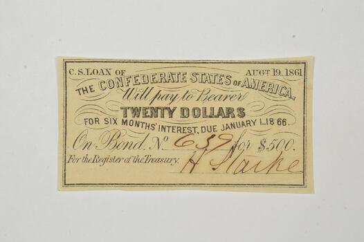 1861 $20 Confederate States of America - Authentic Civil War Bond Note
