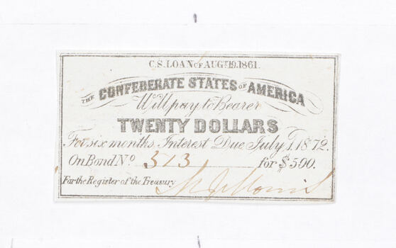 1861 $20 Confederate States of America - Authentic Civil War Bond Note
