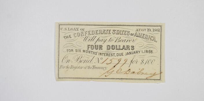 1861 $4 Confederate States of America - Authentic Civil War Bond Note