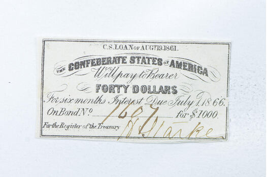 1861 $40 Confederate States of America - Authentic Civil War Bond Note