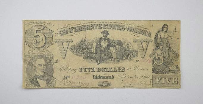1861 $5 Confederate States of America Note - T-37 - Civil War Era