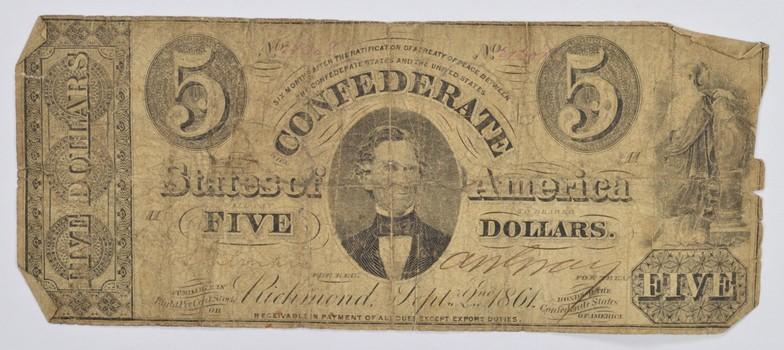 1861 $5 Confederate States of America Richmond VA Note- Cr. 268 - Civil War Era