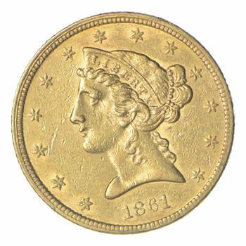 1861 $5.00 Liberty Head Gold Half Eagle - Near Uncirculated