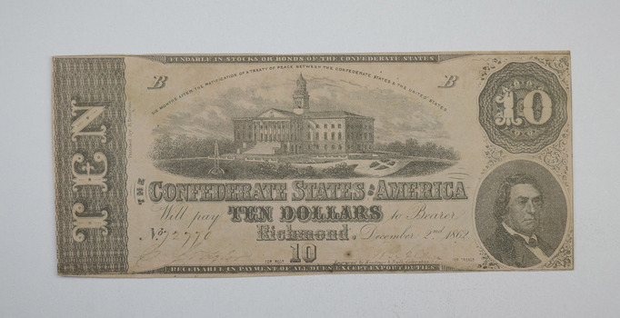 1862 $10 Confederate States of America Note - T-52 - Civil War Era