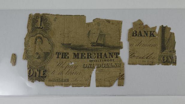 1862 $1.00 Merchant Bank of Baltimore Torn Note