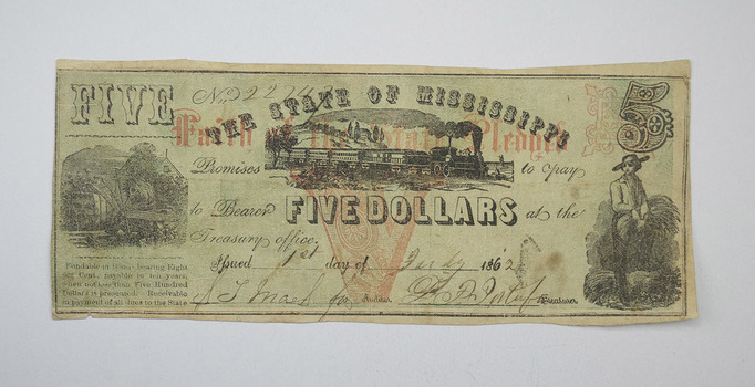 1862 $5 State of Mississippi Obsolete Bank Note - Civil War Era - Cr. 36