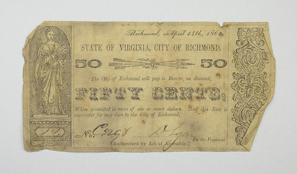 1862 50 Cent City of Richmond Virginia Obsolete Scrip Note
