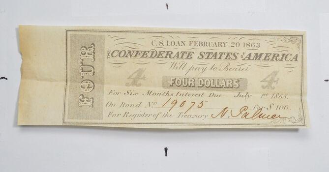 1863 $4 Confederate States of America - Authentic Civil War Bond Note