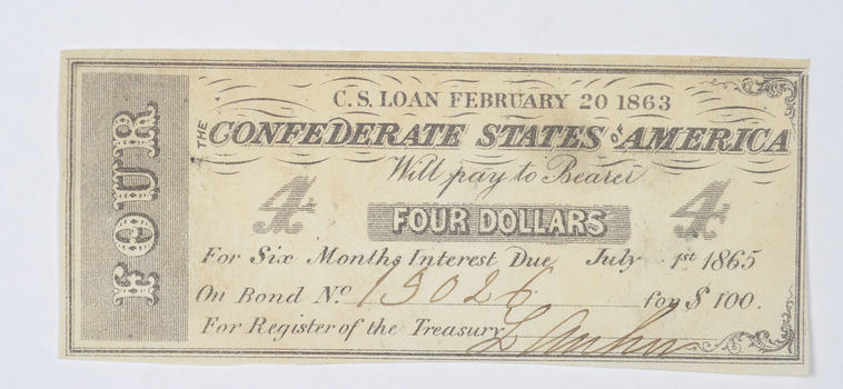 1863 $4.00 Confederate States of America - Authentic Civil War Bond Note