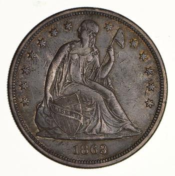 1863 Seated Liberty Silver Dollar - Near Uncirculated