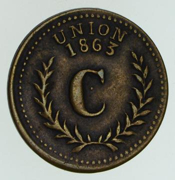 1863 Union / Eureka Good For 10 Civil War Token - Circulated