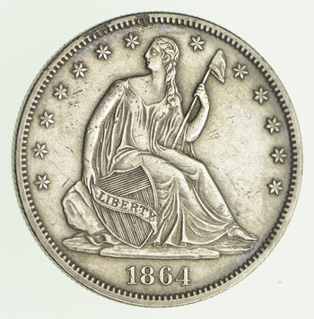 1864 Seated Liberty Silver Half Dollar - Near Uncirculated
