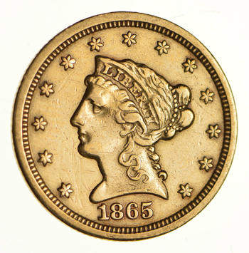 1865-S $2.50 Liberty Head Gold Quarter Eagle - Near Uncirculated