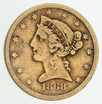 1868 $5.00 Liberty Head Gold Half Eagle - Circulated