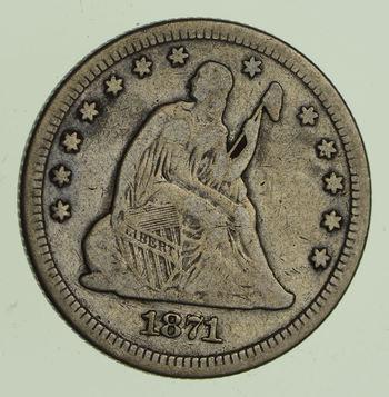 1871 Seated Liberty Quarter - Circulated