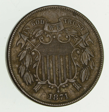 1871 Two-Cent Piece - Circulated