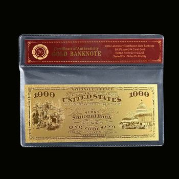 1875 $1,000.00 First Natioanl Bank - National Currency Replica Bank Note