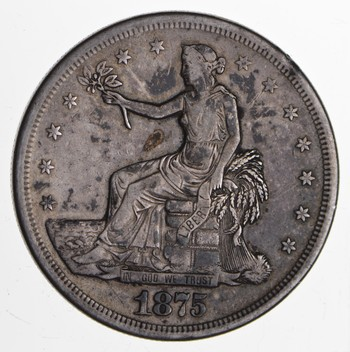 1875-S Seated Liberty Silver Trade Dollar - Circulated