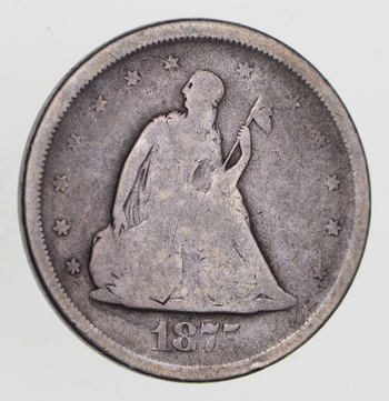1875-S Seated Liberty Silver Twenty-Cent Piece - Circulated