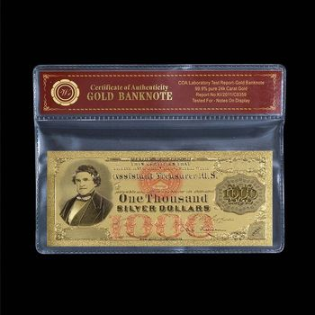 1878 Silver Certificate - $1,000.00 - Early US Bill Replica Note