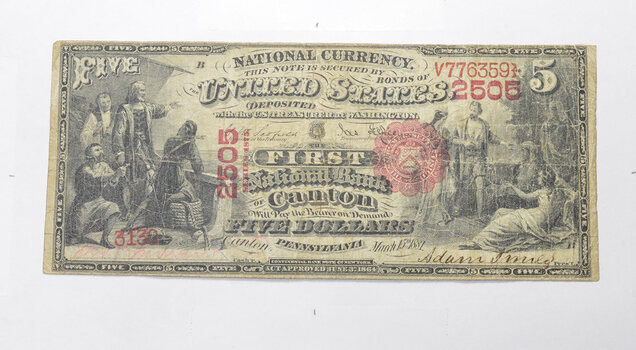1881 $5.00 Canton, PA. United States National Currency Large Note
