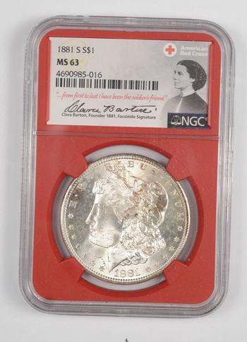 1881-S MS 63 Morgan Silver Dollar - NGC - Red Cross - RARE CLARA BARTON