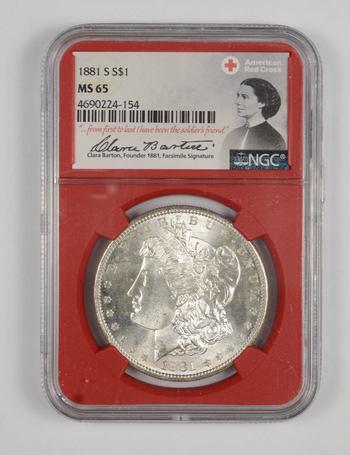 1881-S MS 65 Morgan Silver Dollar - NGC - Red Cross - RARE CLARA BARTON