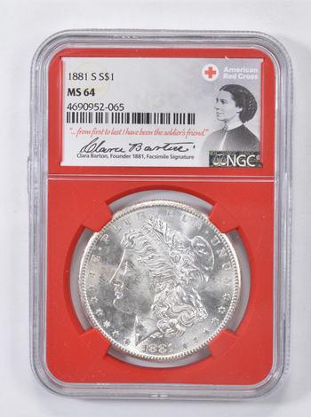 1881-S MS64 Morgan Silver Dollar - NGC - Red Cross - RARE CLARA BARTON