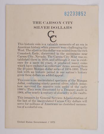 1882 - COA The Carson City Silver Dollars GSA Certificate of Authenticity 1972