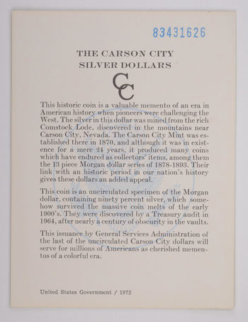1883 - COA The Carson City Silver Dollars GSA Certificate of Authenticity 1972
