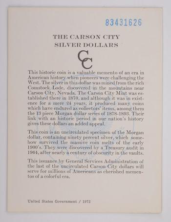 1883 - COA The Carson City Silver Dollars GSA Certificate of Authenticity 1972