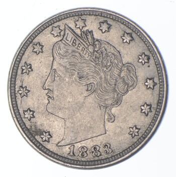 1883 'NO Cent' Liberty V Nickel - Tough - First Year Issue