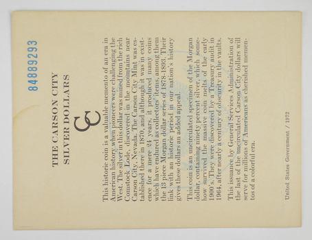 1884 - COA The Carson City Silver Dollars GSA Certificate of Authenticity 1972