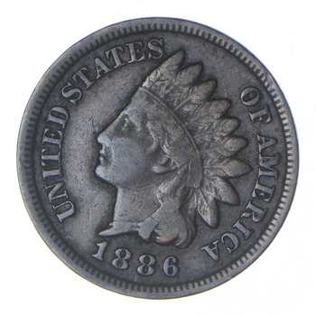 1886 Indian Head Cent - Type 2 - Circulated