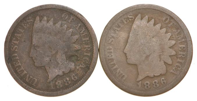 1886 TYPE 1 & Type 2 Indian Head Cent Lot Colleciton - 2 Coins