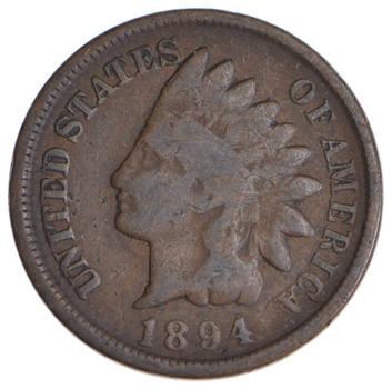 1890's KEY DATE - 1894 Indian Head Cent - Tough