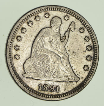1891 Seated Liberty Silver Quarter - Variety 4 - Circulated