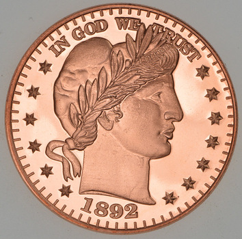 1892 Barber Bust Head Tribute Series - One Oz .999 Fine Copper Round - Limited Edition